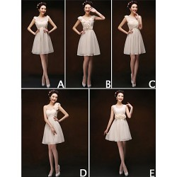 Mix & Match Dresses Short Mini Chiffon 5 Styles Bridesmaid Dresses (3789923)