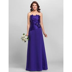 A Line Spaghetti Straps Floor Length Satin Bridesmaid Dress