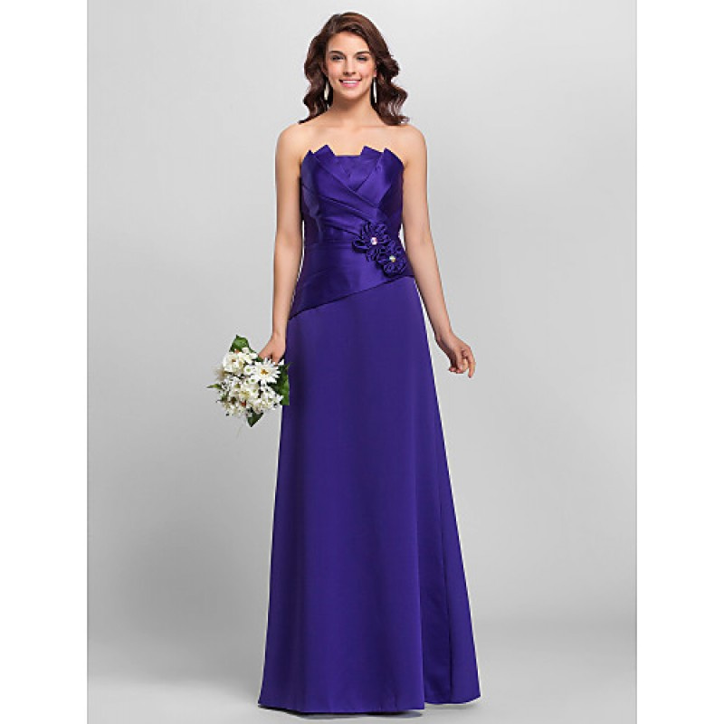 A-line Spaghetti Straps Floor-length Satin Bridesmaid Dress,Cheap Uk ...