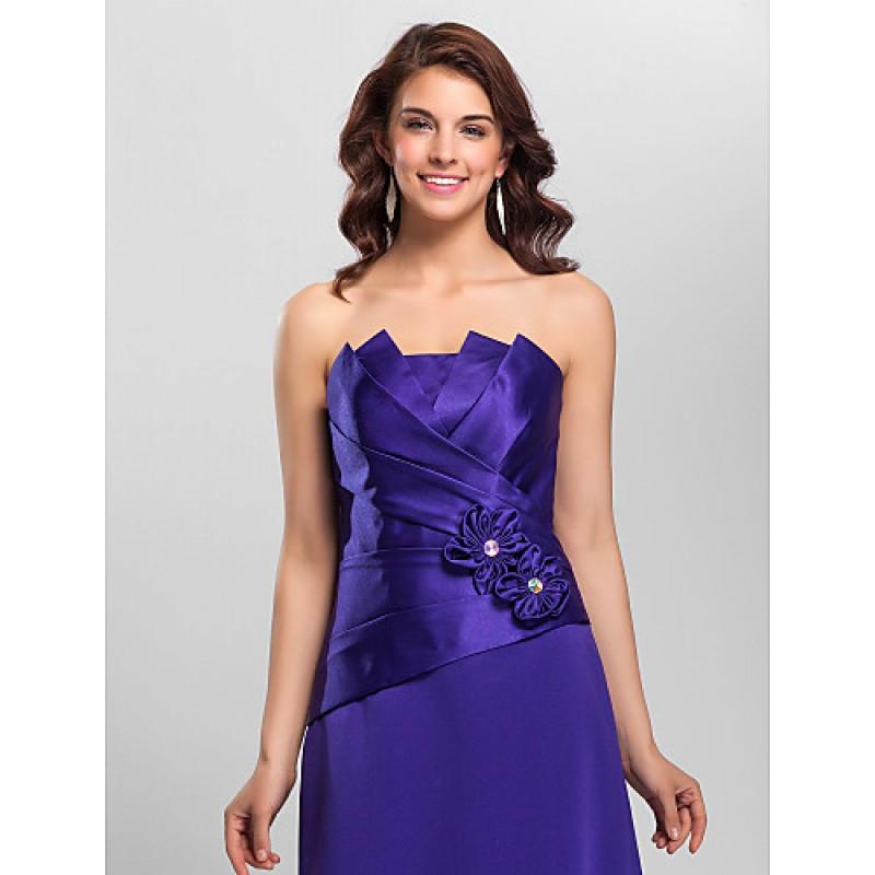 A-line Spaghetti Straps Floor-length Satin Bridesmaid Dress,Cheap Uk ...