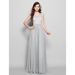 Floor Length Chiffon Bridesmaid Dress Silver Plus Sizes Petite Sheath Column V Neck