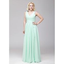 Floor Length Chiffon Bridesmaid Dress Sage A Line V Neck