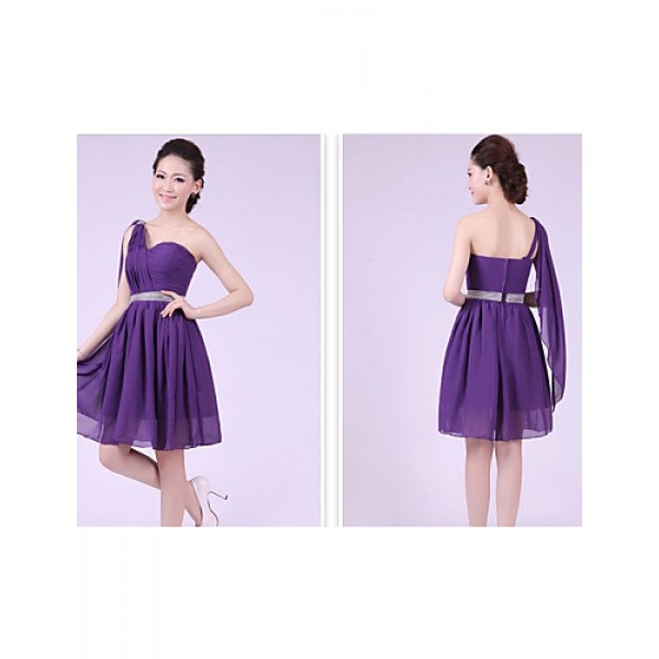 Short/Mini Bridesmaid Dress - Grape A-line / Princess One Shoulder Bridesmaid Dresses