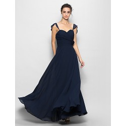 Floor-length Chiffon Bridesmaid Dress - Dark Navy Sheath/Column Sweetheart