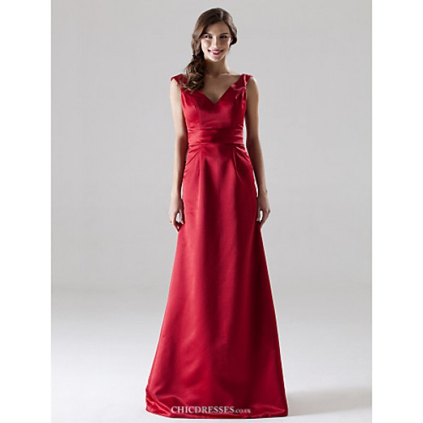 Floor-length Satin Bridesmaid Dress - Ruby Plus Sizes / Petite A-line / Princess V-neck / Straps Bridesmaid Dresses