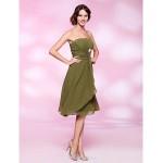 Cocktail Party Dress - Clover Plus Sizes / Petite A-line / Princess Strapless Knee-length Chiffon Bridesmaid Dresses
