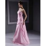 Floor-length Taffeta Bridesmaid Dress - Blushing Pink Plus Sizes / Petite A-line / Princess Strapless Bridesmaid Dresses