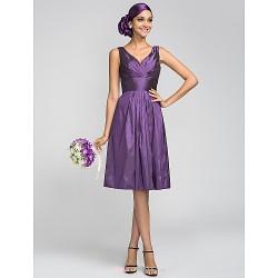 Knee Length Taffeta Bridesmaid Dress Grape Plus Sizes Petite A Line V Neck