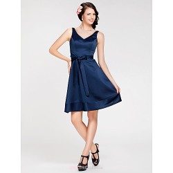 Knee Length Satin Bridesmaid Dress Dark Navy Plus Sizes Petite A Line Princess V Neck Straps