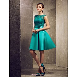 Knee Length Satin Lace Bridesmaid Dress Jade Plus Sizes Petite A Line Princess Bateau