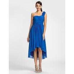 Dress Royal Blue Plus Sizes Petite Sheath Column One Shoulder Asymmetrical Chiffon