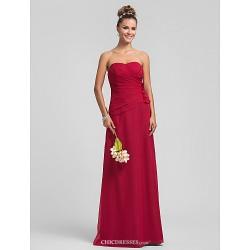 Floor Length Chiffon Bridesmaid Dress Ruby Plus Sizes Petite Sheath Column Sweetheart