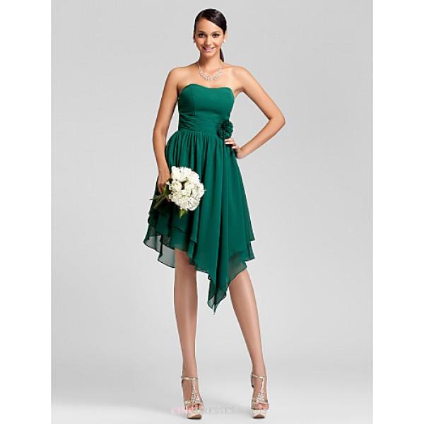 Asymmetrical / Knee-length Chiffon Bridesmaid Dress - Dark Green Plus Sizes / Petite A-line / Princess Strapless Bridesmaid Dresses