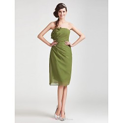 Knee Length Chiffon Bridesmaid Dress Clover Plus Sizes Petite Sheath Column Strapless