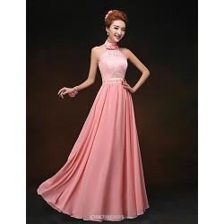 Floor Length Chiffon Bridesmaid Dress Watermelon Sheath Column High Neck