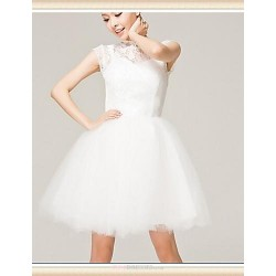 Short Mini Lace Tulle Bridesmaid Dress Ivory A Line High Neck