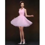 Short/Mini Bridesmaid Dress - Blushing Pink Sheath/Column Halter Bridesmaid Dresses