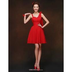 Short/Mini Bridesmaid Dress - Ruby Sheath/Column Spaghetti Straps