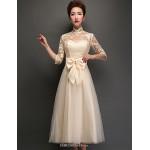 Tea-length Tulle Bridesmaid Dress - Champagne A-line High Neck Bridesmaid Dresses