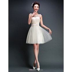 Short Mini Tulle Bridesmaid Dress Ivory Candy Pink A Line Scoop
