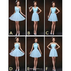 Mix & Match Dresses Short Mini Chiffon And Lace 6 Styles Bridesmaid Dresses (2840153)