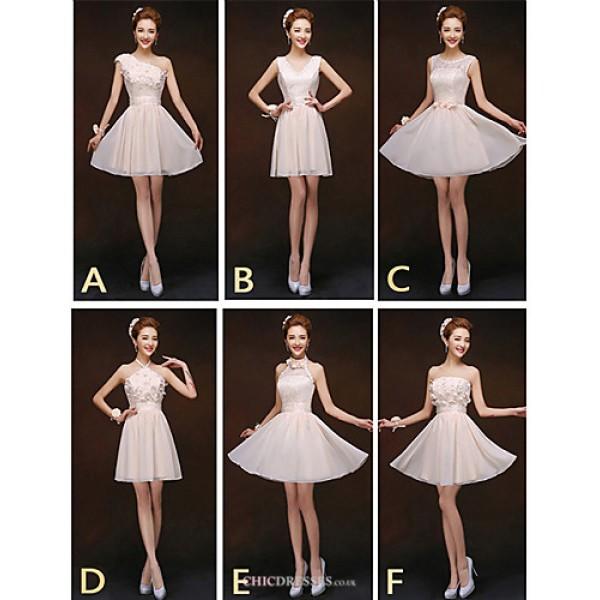 Mix & Match Dresses Short/Mini Chiffon and Lace 6 Styles Bridesmaid Dresses (2840149) Bridesmaid Dresses