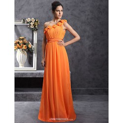 Floor-length Chiffon Bridesmaid Dress - Orange Plus Sizes / Petite Sheath/Column One Shoulder
