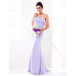 Sweep/Brush Train Georgette Bridesmaid Dress - Lavender Plus Sizes / Petite Sheath/Column Strapless