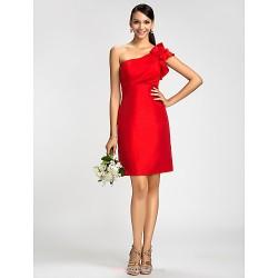 Dress Ruby Plus Sizes Petite Sheath Column One Shoulder Knee Length Taffeta