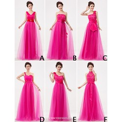 Mix & Match Dresses Floor Length Tulle And Lace 6 Styles Bridesmaid Dresses (3227685)