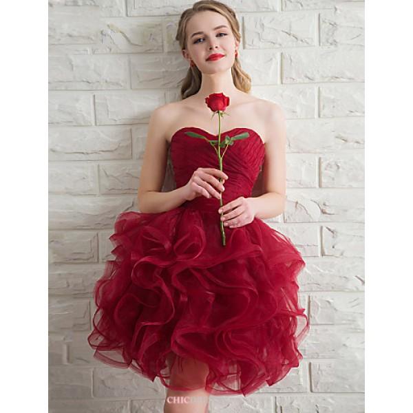 Short/Mini Organza Bridesmaid Dress - Ruby Ball Gown Sweetheart Bridesmaid Dresses