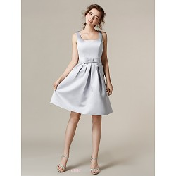 Knee Length Satin Bridesmaid Dress Silver Plus Sizes Petite A Line Square