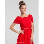 Wedding Party / Formal Evening / Military Ball Dress - Ruby Plus Sizes / Petite Sheath/Column Square Floor-length Chiffon Bridesmaid Dresses