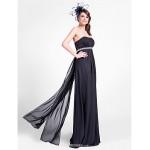 Floor-length Chiffon Bridesmaid Dress - Black Plus Sizes / Petite Sheath/Column Strapless Bridesmaid Dresses