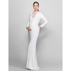 Formal Evening Dress - Ivory Plus Sizes / Petite Sheath/Column V-neck Floor-length Knit