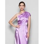Floor-length Charmeuse Bridesmaid Dress - Lilac Plus Sizes / Petite Sheath/Column One Shoulder Bridesmaid Dresses