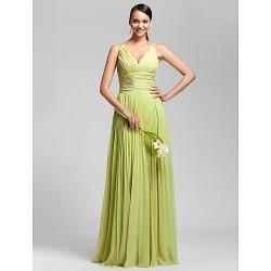 Floor-length Chiffon Bridesmaid Dress - Lime Green Plus Sizes / Petite Sheath/Column V-neck / Spaghetti Straps