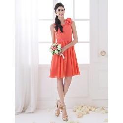 Knee Length Chiffon Bridesmaid Dress Watermelon Plus Sizes Petite A Line Scoop