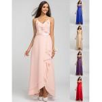 Asymmetrical Chiffon Bridesmaid Dress - Pearl Pink / Royal Blue / Ruby / Champagne / Grape Plus Sizes / Petite Sheath/ColumnSpaghetti Bridesmaid Dresses