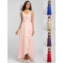 Asymmetrical Chiffon Bridesmaid Dress Pearl Pink Royal Blue Ruby Champagne Grape Plus Sizes Petite Sheath ColumnSpaghetti