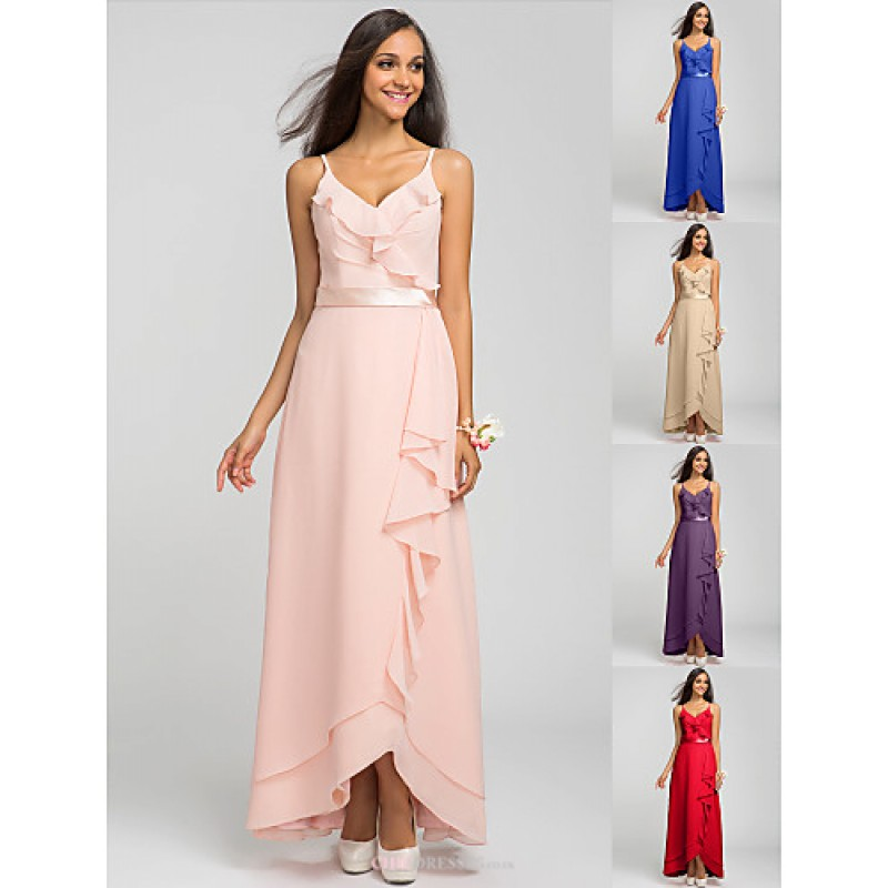 Asymmetrical Chiffon Bridesmaid Dress - Pearl Pink / Royal Blue ...