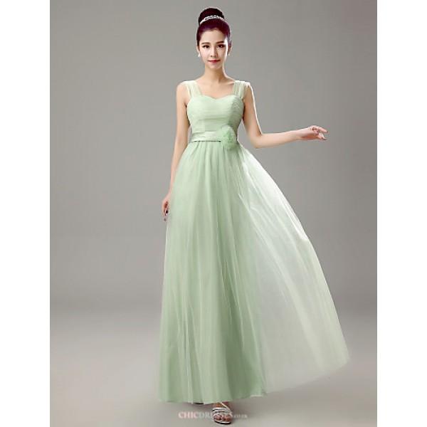 Dress - Clover Sheath/Column Straps Floor-length Chiffon Bridesmaid Dresses