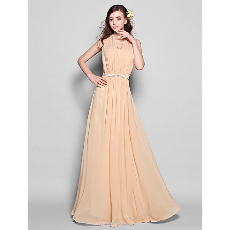 Floor length chiffon bridesmaid dress champagne plus for Plus size champagne colored wedding dresses