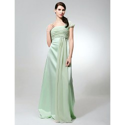 Floor Length Chiffon Satin Bridesmaid Dress Sage Plus Sizes Petite Sheath Column Square