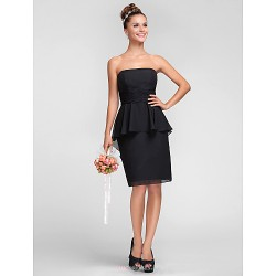 Knee Length Chiffon Bridesmaid Dress Black Plus Sizes Petite Sheath Column Strapless