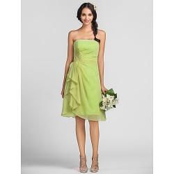Knee Length Chiffon Bridesmaid Dress Lime Green Plus Sizes Petite Sheath Column Strapless