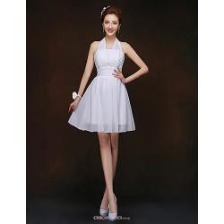 Short/Mini Bridesmaid Dress - White Sheath/Column Halter