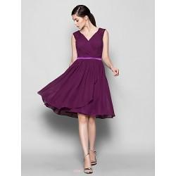 Knee Length Chiffon Bridesmaid Dress Grape Plus Sizes Petite A Line V Neck
