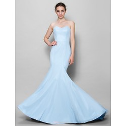 Floor Length Chiffon Bridesmaid Dress Sky Blue Trumpet Mermaid Sweetheart