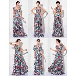 Mix&Match Convertible Dress Floor Length Knit Sheath Column Evening Dress (1912689)
